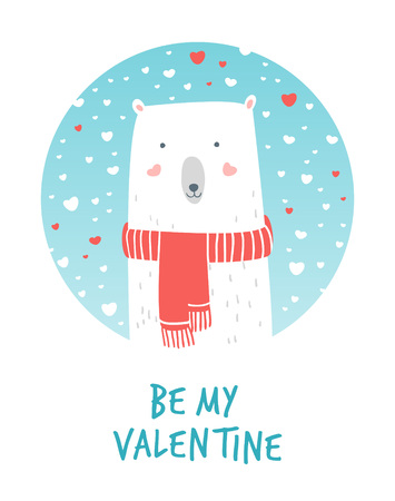 Cartoon Illustration Romantic Polar and Snow. Hand drawn cute illustration white bear. Valentines card. Vector illustration romantic mood. Valentines greetings with polar bear and snow.