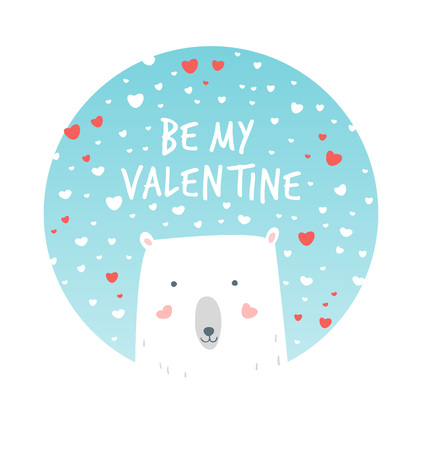 gently: Cartoon Illustration Romantic Polar and Snow. Hand drawn cute illustration white bear. Valentines card. Vector illustration romantic mood. Valentines greetings with polar bear and snow.