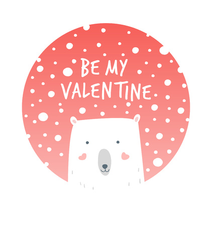 Cartoon Illustration Romantic Polar and Snow. Hand drawn cute illustration white bear. Valentines card. Vector illustration romantic mood. Valentines greetings with polar bear and snow.