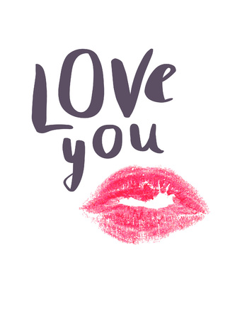 Love you. Valentines Day card. Romantic card with text and lipstick imprint. Valentines kiss. Love card. Romantic greetings Illustration
