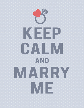 """파란색 폴카 도트 배경에 """"계속 침착하게 결혼 해주세요""""라는 글자. 텍스트, 반지 및 마음입니다. 스톡 콘텐츠 - 76390137"""