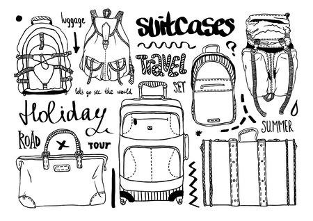 Hand drawn vector set. Creative black contour art work. Ink illustration baggage. Set of bags for travel. Illustration