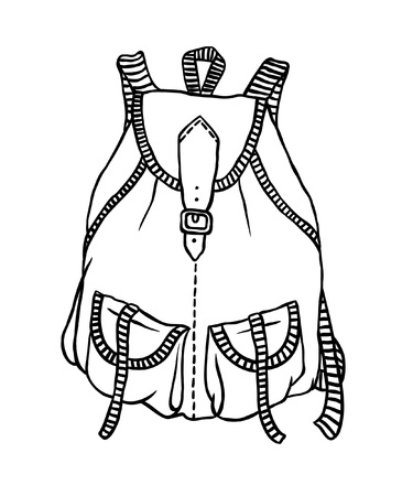 Hand drawn illustration. Creative black contour art work. Ink fashion drawing. Vector Isolated backpack
