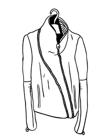 Hand drawn illustration. Creative black contour art work. Ink fashion drawing. Vector leather jacket Illustration