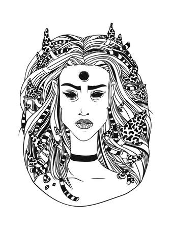 Sorcière de la forêt jeune illustration dessinée à la main, contour noir Banque d'images - 76389932