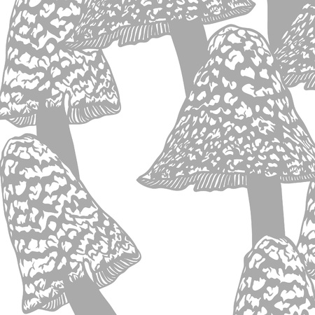 Hand drawn vector illustration. Witchcraft Seamless pattern with mystical mushrooms. Creative black contour art work