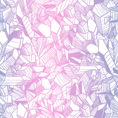 Hand drawn luxury illustration. Creative contour art work. Ink abstract design. Seamless vector pattern with pink and blue crystals