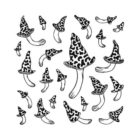 Hand drawn vector illustration. Creative ink art work. Isolated set of Mushrooms on white background Illustration