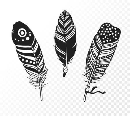 Black and White doodle illustration. Hipster black Ink art work. Cute tribal vector illustration. Hand Drawn set of boho feathers