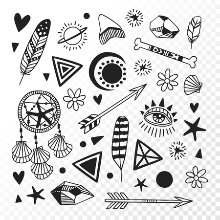 Black and White doodle illustration. Hand Drawn Ink art work. Hipster vector background. Cute boho set of Native American objects