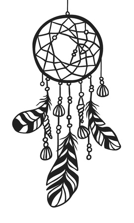Black contour Dream catche boho illustration. Hand Drawn Ink art work. Dreamcatcher with sea objects and feathers. Vector drawing.