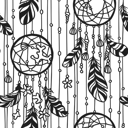 Black contour Dream catche boho illustration. Hand Drawn Ink art work. Dreamcatcher with sea objects and feathers. Vector seamless pattern.