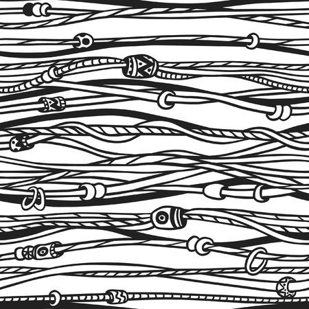 Doodle américain natif. noir Hipster ?uvre d'art d'encre. Vector illustration avec des câbles textiles. Main ethnique Drawn seamless avec des motifs indiens et américains bandes tresse. Banque d'images - 76329784