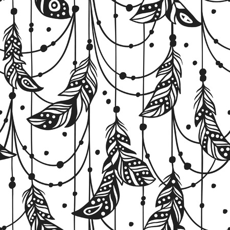 Hand drawn Bohemian chic style illustration. Ink vector Seamless pattern with Boho Feathers. Creative black contour art-work.
