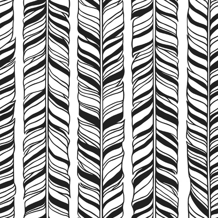 Black and White Hand Drawn illustration. Ink art work Stripes. Hipster vector seamless pattern. Abstract zig zag background.