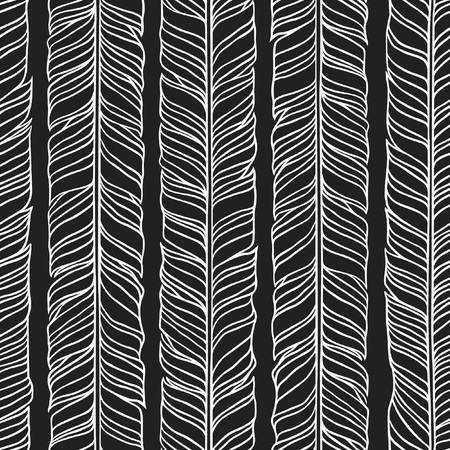 actual: Black and White Hand Drawn illustration. Ink art work Stripes. Hipster vector seamless pattern. Abstract zig zag background.