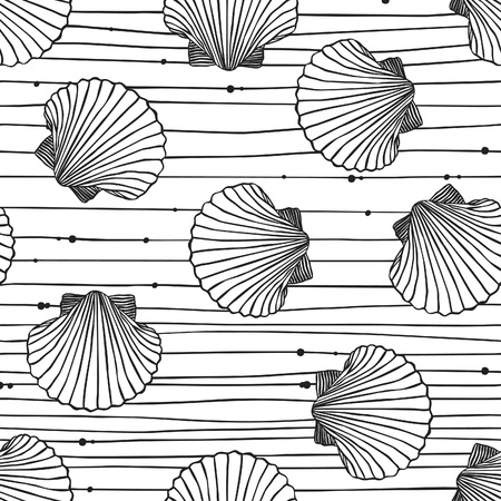 Hand drawn boho illustration. Set of seamless pattern with shells. Vector creative black contour art-work. Ink drawing in bohemian chic style.