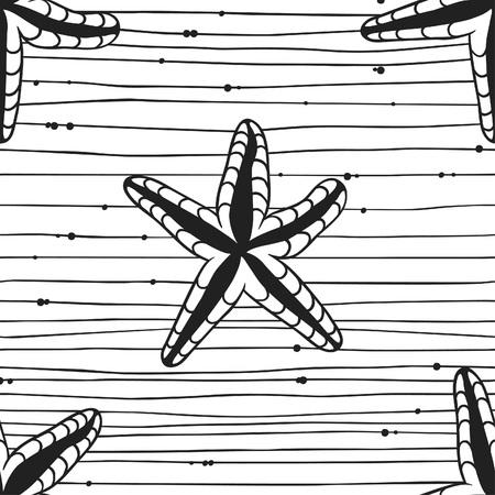 Black contour starfish illustration. Black Ink art work. Hand Drawn marine illustration. Vector nautical seamless pattern. Ink drawing sea stars. Illustration