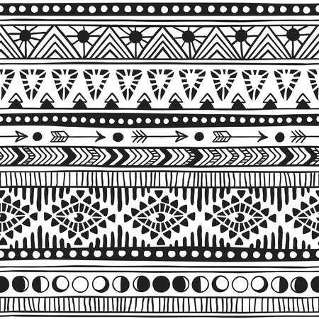 mainstream: Native American doodle. Textile print with Navajo tribal ornament. Hipster black Ink art work. Aztec vector illustration. Ethnic Hand Drawn seamless pattern with American Indian motifs.