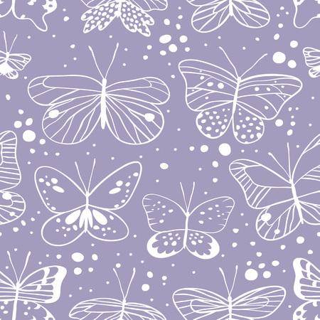 蝶のシームレスなパターン。手には、ベクター グラフィックが描画されます。設計のための装飾的な要素。創造的な芸術作品