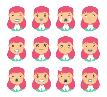 Set of emoji characters. Cartoon style emotion icons. Isolated holopunk girls avatars with different facial expressions.