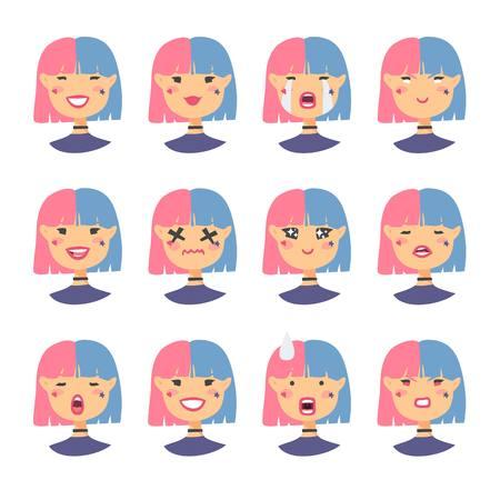 Ensemble de caractères emoji. Icônes de style de dessin animé. Avatars de filles holopunk isolés avec différentes expressions faciales. Banque d'images - 76533603