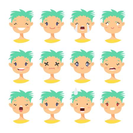 Set of emoji characters. Cartoon style emotion icons. Isolated holopunk girls avatars with different facial expressions. Фото со стока - 76533604