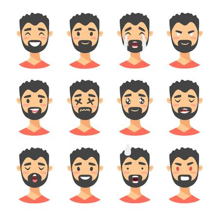 Set of male emoji characters. Cartoon style emotion icons. Isolated boys avatars with different facial expressions. Flat illustration mens emotional faces. Hand drawn vector drawing emoticon