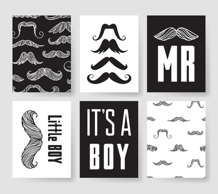 Set of templates for boys birthday cards. Hand drawn vector patterns design flyers for baby shower party