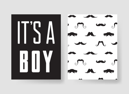 mainstream: Set of templates for boys birthday cards. Hand drawn vector patterns design flyers for baby shower party