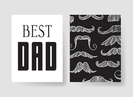 Set of templates for cards. Hand drawn vector patterns design flyers for Happy Fathers Day