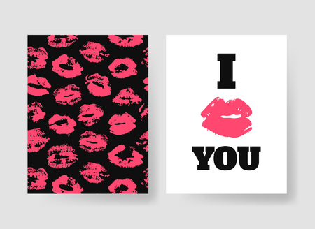Set of templates for romantic cards. Hand drawn fashion illustration lipstick kiss. Female vector patterns brochures with lips Valentines Day Illustration