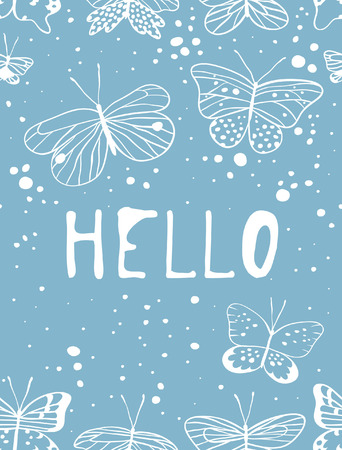 Set of templates for summer cards. Hand drawn vector patterns brochures with butterfly Illustration