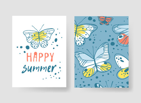 Set of templates for summer cards. Hand drawn vector patterns brochures with butterfly 向量圖像