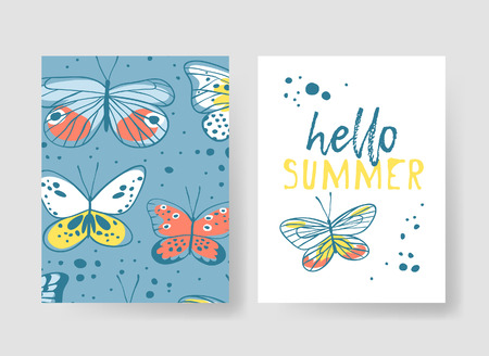 Set of templates for summer cards. Hand drawn vector patterns brochures with butterfly Çizim