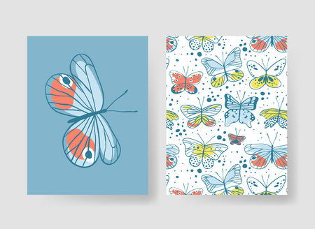 Set of templates for summer cards. Hand drawn vector patterns brochures with butterfly Ilustrace