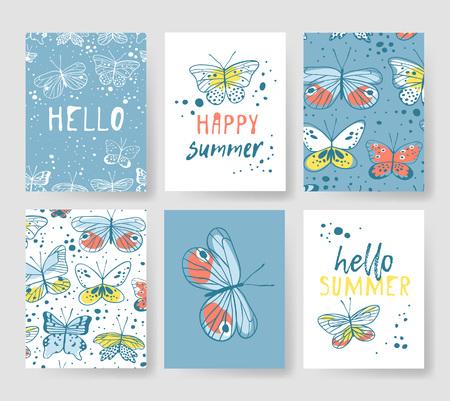 夏のカード用のテンプレートのセットです。手描き蝶とのベクトル パターン パンフレット