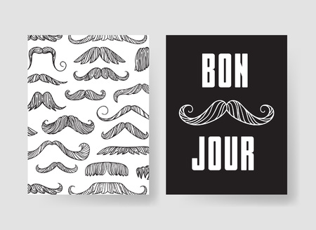 mainstream: Set of templates for fashion cards. Hand drawn vector patterns hipster brochures with mustache
