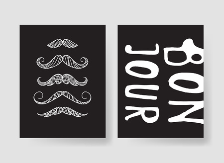 Set of templates for fashion cards. Hand drawn vector patterns hipster brochures with mustache Stock fotó - 78184904