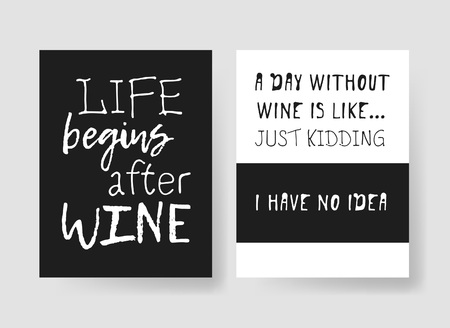 Set of templates for cards with positive text about wine. Hand drawn vector patterns brochures and lettering quote Banco de Imagens - 78263116
