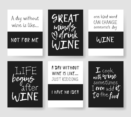Set of templates for cards with positive text about wine. Hand drawn vector patterns brochures and lettering quote Banco de Imagens - 78263117