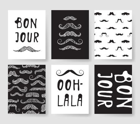 Set sjablonen voor modekaarten. Hand getrokken vector patronen hipster brochures met snor Stock Illustratie