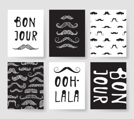 Set of templates for fashion cards. Hand drawn vector patterns hipster brochures with mustache