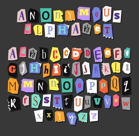 カラフルな新聞のアルファベット。手作り匿名を設定します。ベクトル文字  イラスト・ベクター素材