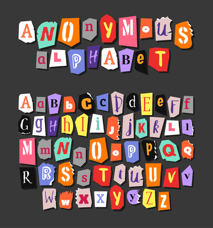 Colorful Newspaper alphabet. Hand made anonymous set. Vector Letters