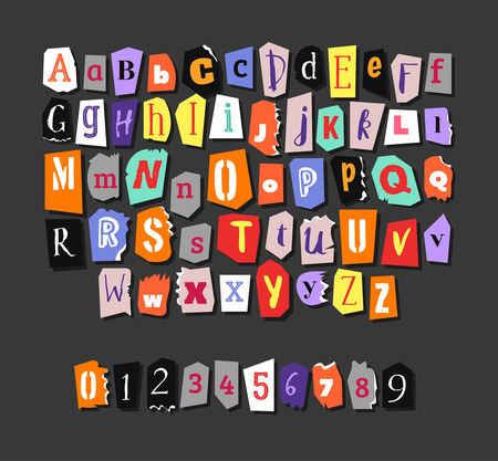 Colorful Newspaper alphabet. Hand made anonymous set. Vector Letters, numbers Illusztráció