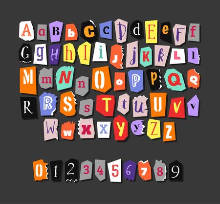 Kleurrijk krantalfabet. Handgemaakt anoniem set. Vector Letters, nummers Stock Illustratie