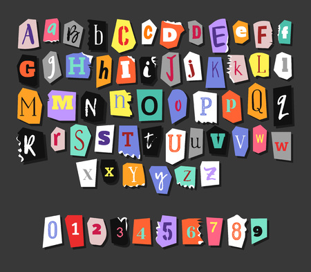 Colorful Newspaper alphabet. Hand made anonymous set. Vector Letters, numbers Vettoriali