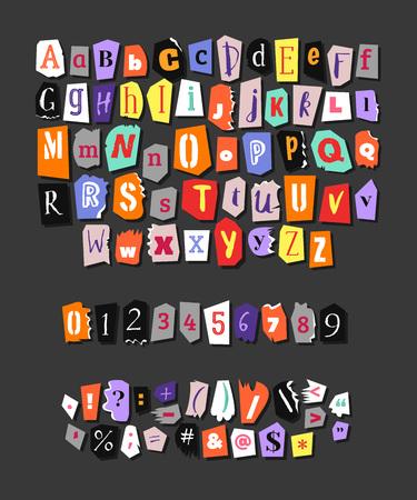 Kleurrijke krant alfabet. Hand gemaakt anonieme set. Vector letters, cijfers en leestekens