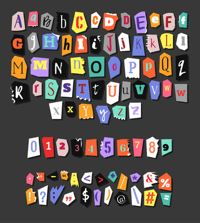 Colorful Newspaper alphabet. Hand made anonymous set. Vector Letters, numbers and punctuation marks